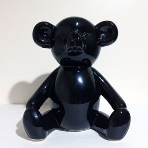Black Ceramic Teddy Bear Figurine Decor Tall Large